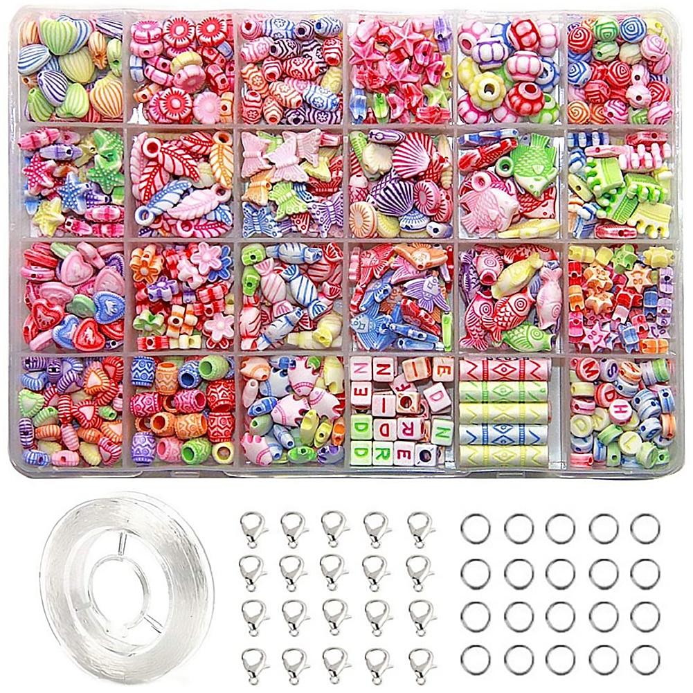 24 sortes de perles pour filles jouets enfants bijoux bricolage faisant des Kits enfants Bracelet collier bijoux bricolage faisant Kit pour les filles jouets cadeaux