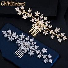 CWWZircons elegante, oro amarillo, zirconia cúbica, hoja grande para mujeres, boda, fiesta, horquillas, accesorios, tocado nupcial, joyería A021