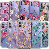 iphone 12 mini 11 pro max transparent phone case protective back cover xr 7 8 plus se 2020 cute butterfly flower protective case
