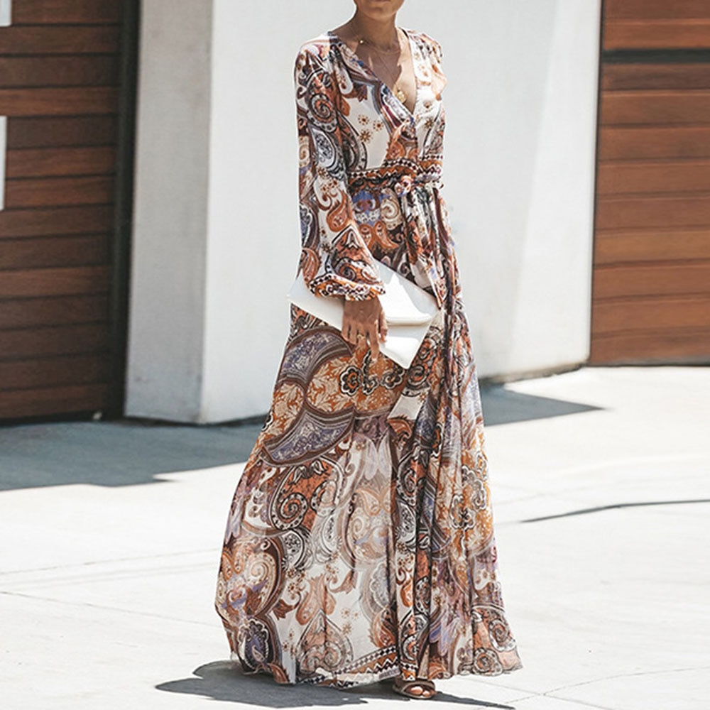 Bohoartist de Otoño de las mujeres de gasa piso longitud vestidos largos Boho manga linterna de cintura alta Maxi vestidos vestido
