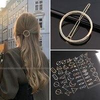 Шикарная металлическая Геометрическая заколка для волос, круглая треугольная заколка, заколка-пряжка для волос, заколки для волос для женщ...