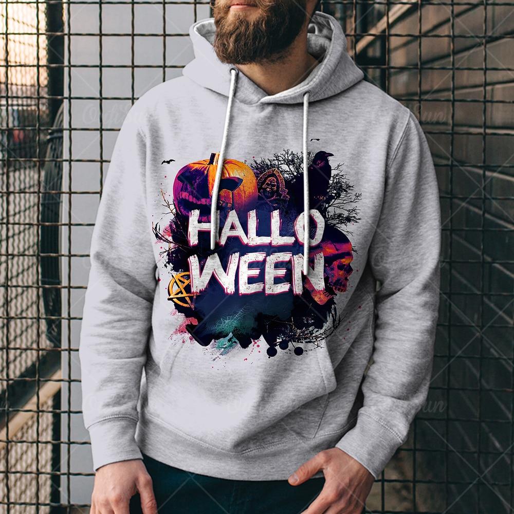 Мужская толстовка, новинка 2021, весна и осень, худи в стиле Хэллоуин, объемный принт, мужская одежда большого размера толстовка мужская денис принт без правил