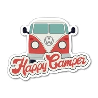 s40826 various sizes funny self adhesive decal happy camper car sticker waterproof auto decors on bumper rear window