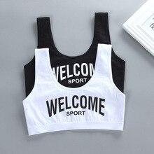 Crianças algodão sutiã de treinamento esportivo roupa interior cor sólida letras impresso colher decote adolescente puberdade menina sem fio bralette ves