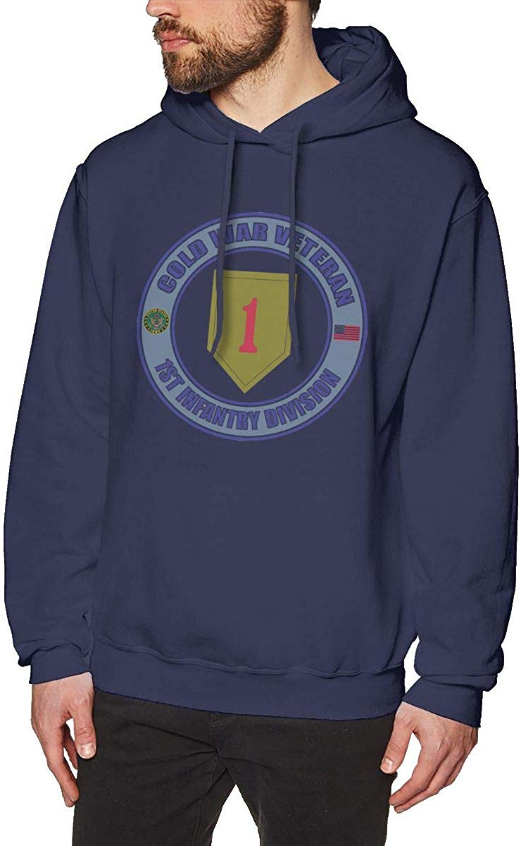 US Army Cold War 1st Infantry Division Veteran Mens Hooded Sweatshirt Theme Printed Fashion Hoodie Navy  men women