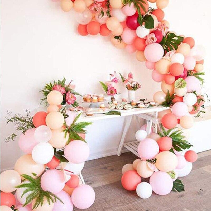 100 قطعة عيد ميلاد الزفاف الطفل دش حزب الذكرى الديكور الوردي الأبيض اللاتكس بالونات الطوق قوس عدة النثار بالون