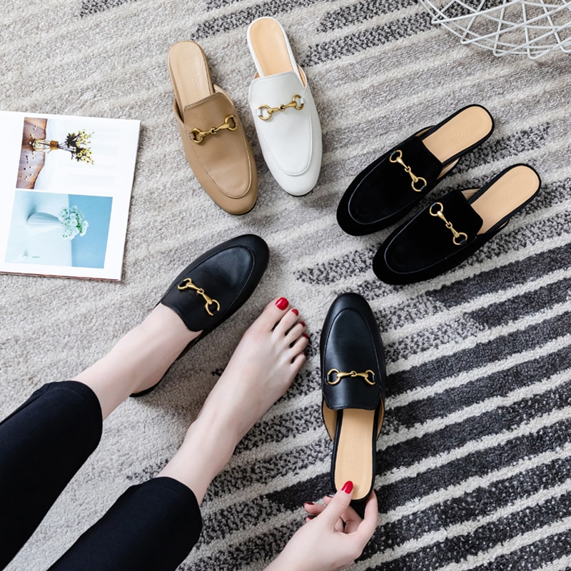 Muller shoes women's 2021 spring and summer new slippers women's lazy shoes flat-bottomed Baotou half slippers sandals and slipp