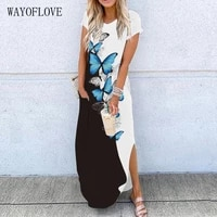 wayoflove butterfly printed sexy dress 2021 summer beach casual split short sleeve dresses woman girl plus size long dress women