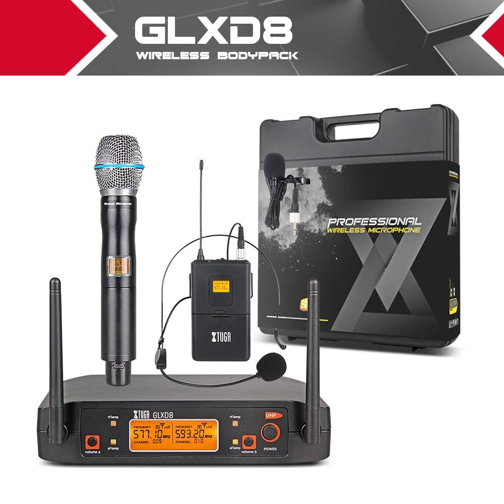 XTUGA GLXD8 sistema de micrófono UHF portátil con funda de transporte 1Boydpack1Handheld MIC BOX inalámbrico para escenario Iglesia boda