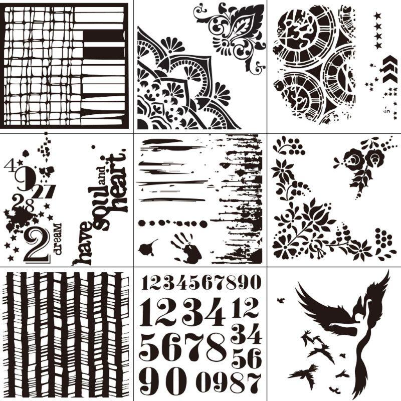 9 pçs/set Número de Dança Pintura Scrapbooking Embossing Stamping Template Stencils Cartão Álbum DIY