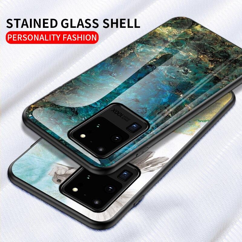 Funda de vidrio templado para Samsung Galaxy S20 Ultra S10 S9 Note 10 funda de mármol para Samsung A51 A71 50S 70 20 10 M30S