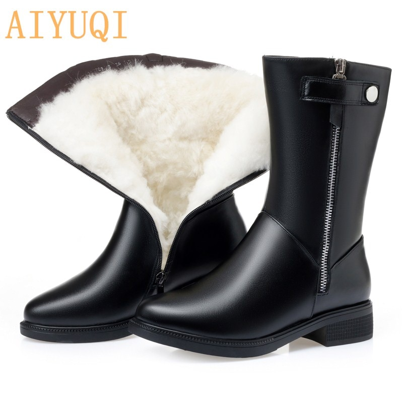 AIYUQI winter boots women Black Shoes Booties Big Size 35-43 Winter Genuine Leather Female Snow Boot