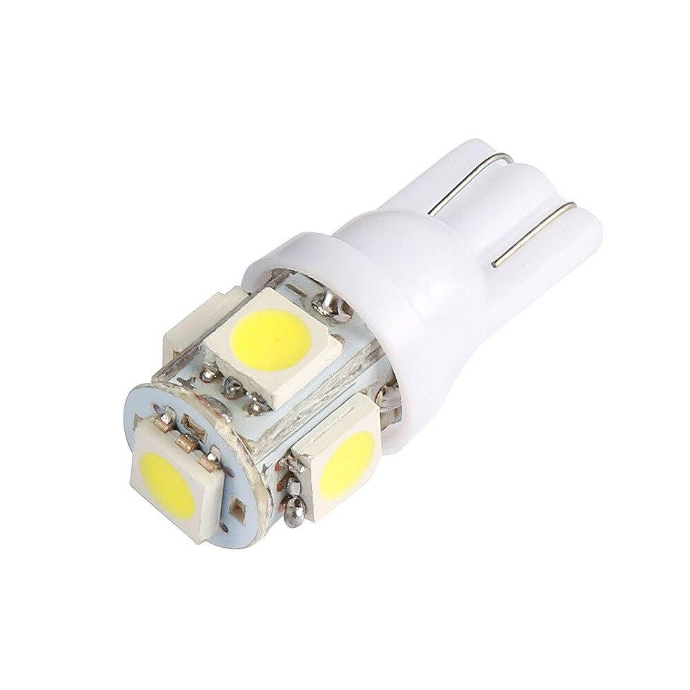10/15/30/50/100 pces carro branco led t10 5050 5smd cunha lâmpada 5w 194 168 2825 158 192 indicador de largura do carro luz led lâmpada