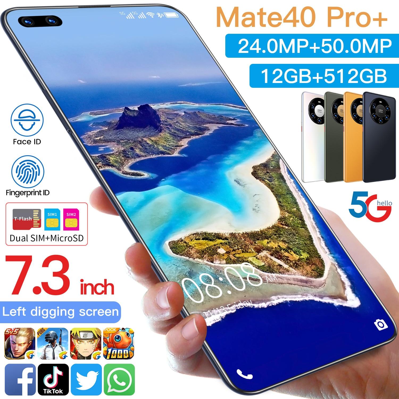 Mate40 Pro+ Smartphone 7.3Inch Full Screen Deca Core 6000mAh 12GB 512GB 4G LTE 5G Network Mobile Phone