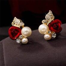 Stilvolle 1 Paar Rote Rose Blume Ohrringe Imitation Schmuck Perle Ohrringe Bijoux Überzogene Kristall Schöne Ohrring Ohrringe Sets
