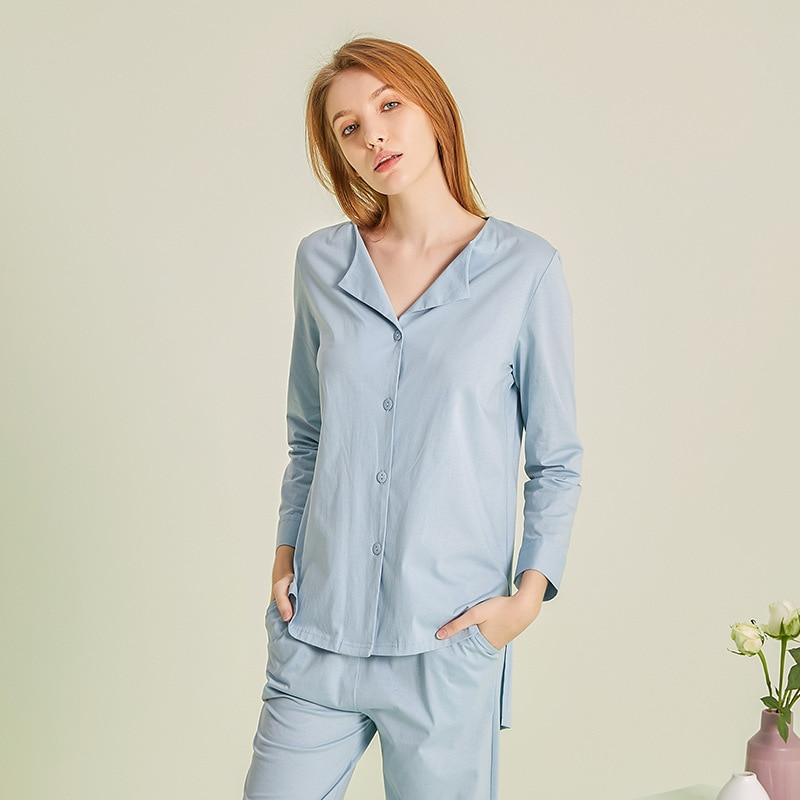 2021 Высококачественная Домашняя одежда женская летняя трендовая Новая высококачественная мерсеризованная Хлопковая женская пижама модный...