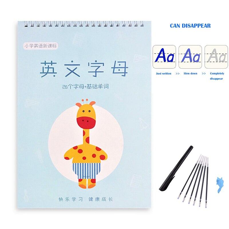3d-тетрадь на английском языке для каллиграфии, тетрадь для упражнений, копировальная тетрадь для детей, тетрадь для письма, китайские книжк...