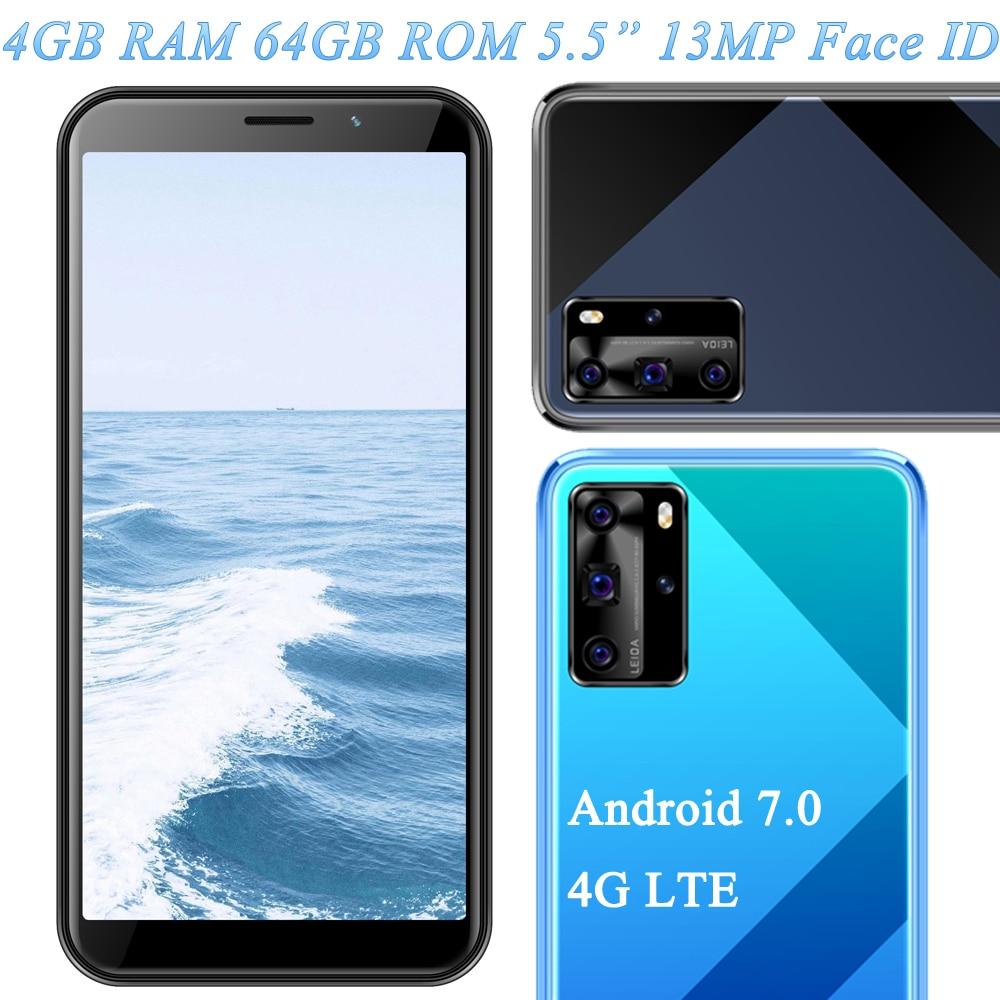 4G LTE نوت 9 5MP + 13MP الوجه معرف 4G RAM 64G ROM نسخة عالمية غير مقفلة رخيصة الهواتف الذكية الهواتف المحمولة أندرويد 7.0 سيليلار واي فاي
