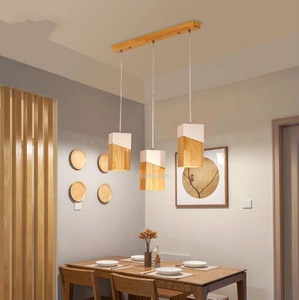 Nordic original chandelier Japanese solid wood dining table lamp creative 1 head 3 head coffee bar LED lamps