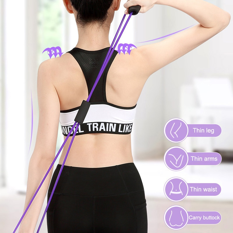 Slimming Yoga rubber workout Fitness Resistance 8 Word Chest Expander Rope Arm Fitness Elastic Bands