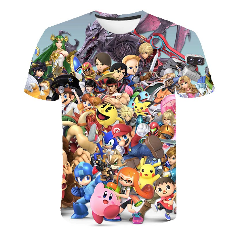 2021 Summer 3D Child T-shirt Super Mario Printed Children Clothing Tshirts Funny Short sleeve Kid Cartoon Anime Boy/Girl T-shirt
