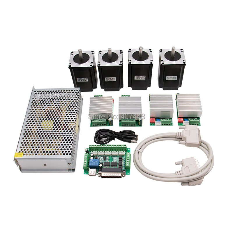 CNC Router Kit 4 Axis, 4pcs 1 axis TB6600 stepper motor driver+breakout board+ 4pcs Nema23 57HS56-3004 motor+ 24V power supply