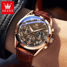 OLEVS Zegarki Meskie Men's watches 2021 Luxury Brand Leather Quartz Wrist Watch For Men Orologio Uom