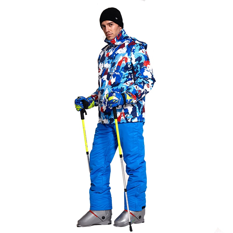 New Thick Warm Ski Suit Men Waterproof WindproMof Skiing and Snowboarding Jacket Pants Set Male Snow Costumes Outdoor WearM