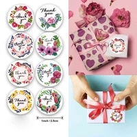 500pcsroll 1 inch floral thank you sticker for party wedding envelope gift baking packaging sealing label decoration