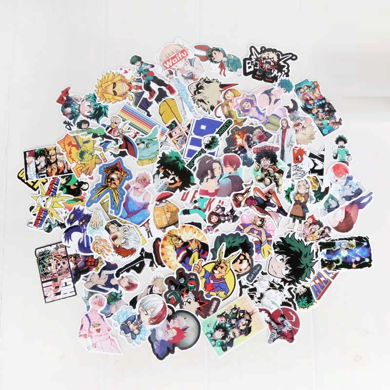 73 unids/set Anime My Hero Universidad pegatinas Cosplay accesorios Prop PVC impermeable Etiqueta de personajes animados pegatina Linda
