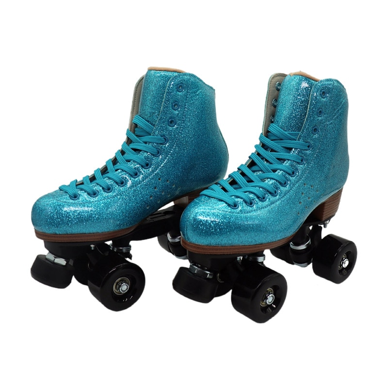 Blue Microfiber Roller Skate Retro Quad Skates Unisex Quality Leather Patines Breathable Sport Des patins Adults Children Skates