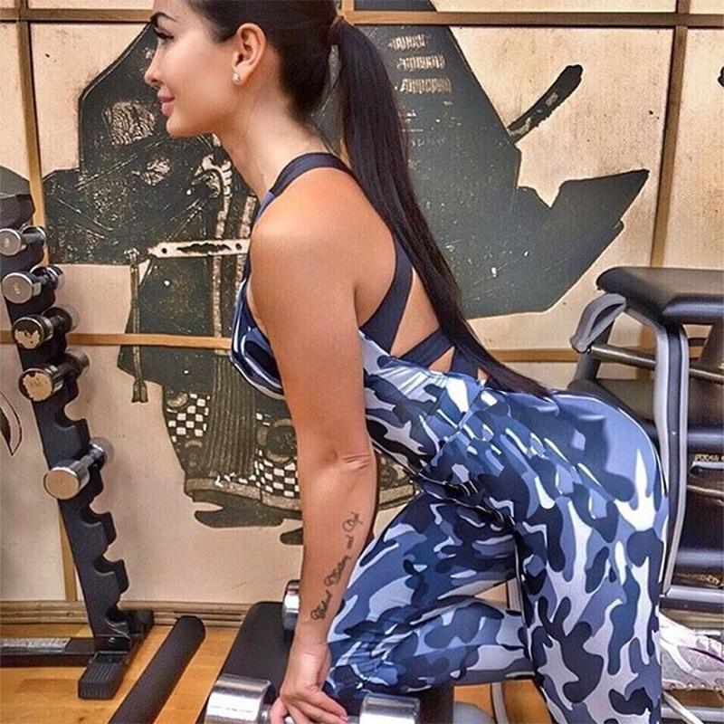 Женский спортивный костюм без рукавов с камуфляжным принтом для йоги