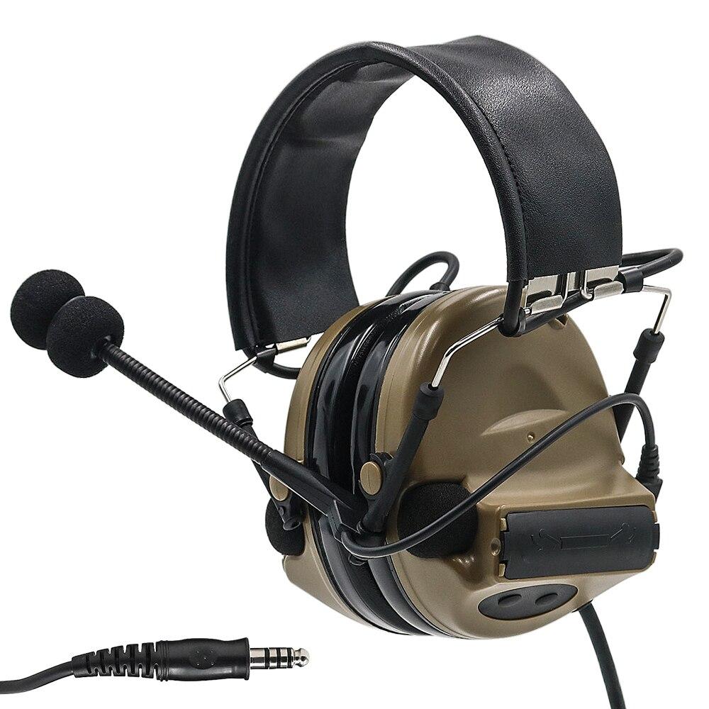 Comtac II Electronic Tactical Headset Hearing Defense Noise Reduction Sound Pickup Military Headphone Shooting Earmuffs DE