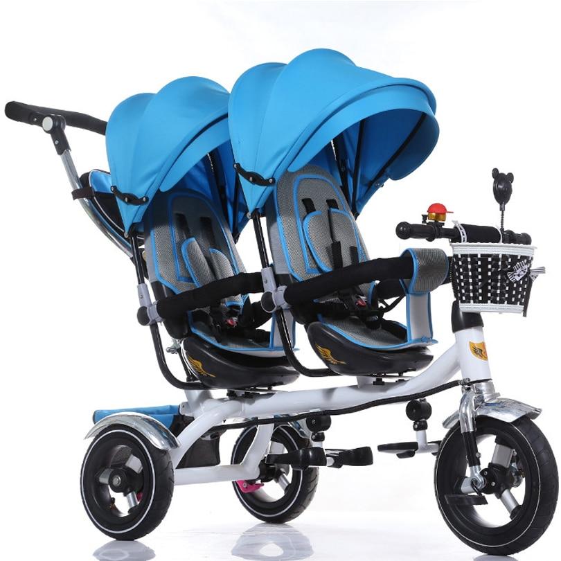 Фабричный магазин, детская коляска, хорошее качество, детский трехколесный велосипед Twins, Двухместный трехколесный велосипед, тележка, детс...
