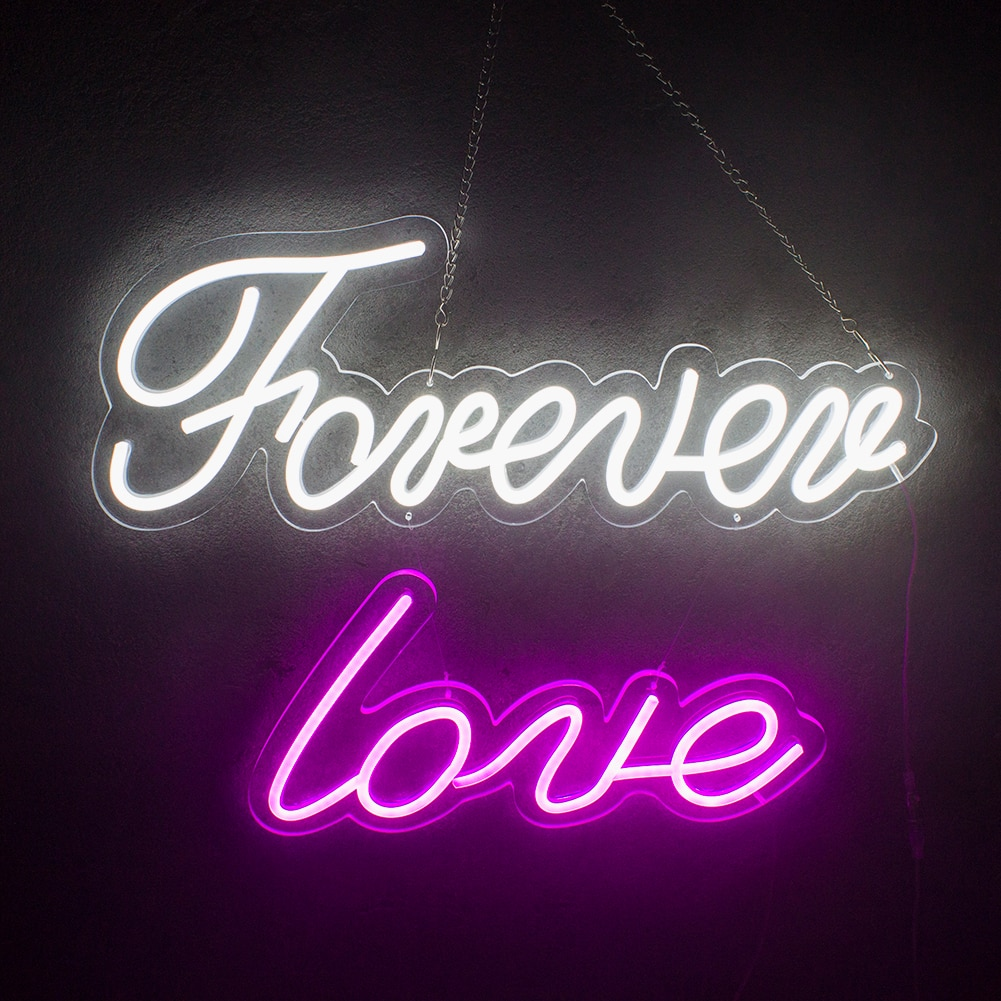 Custom Neon Sign Forever Love Led Lights For Home Wall Windows Shop Display Bedroom Lamp Signs Love Night Light