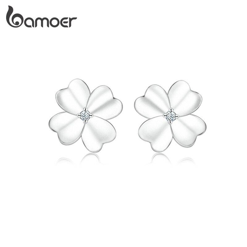 Женские серьги-пусеты bamoer, серьги-пусеты с цветком клевера из серебра и 925 пробы, антиаллергенные украшения, SCE864