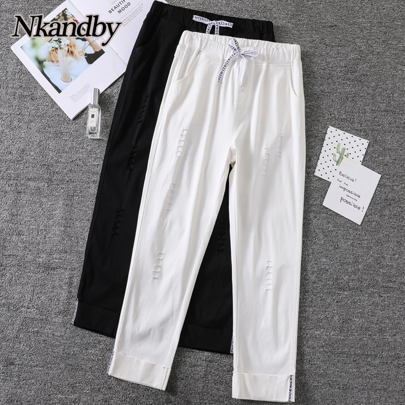 Plus Size Stretchy Harem Pants Women 2021 Spring Summer Hole Elastic Waist Ankle-length Pants Oversi