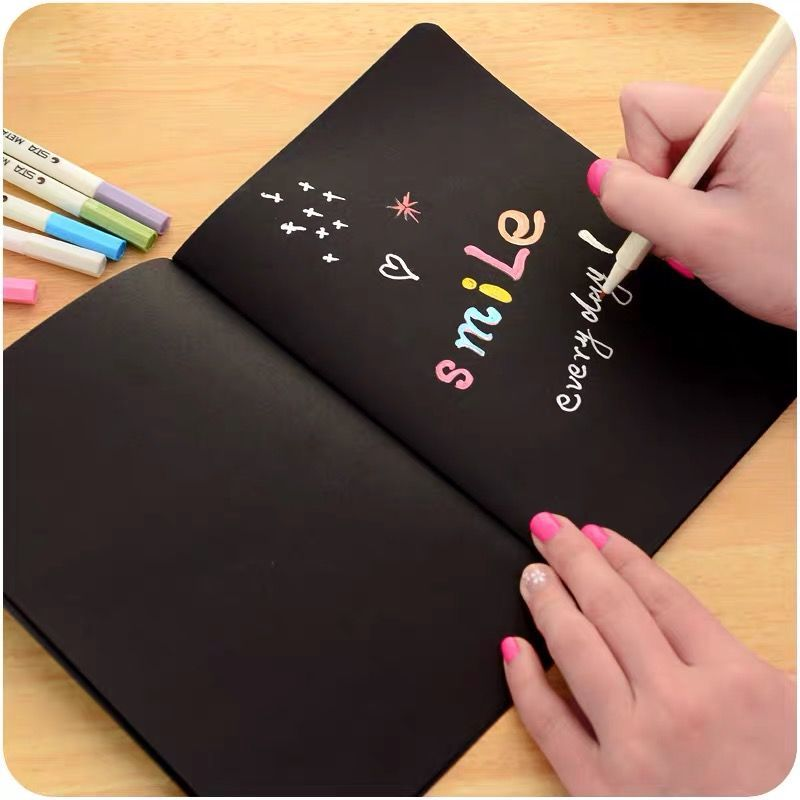 3Books/Set Creative doodle book Hand account Student notebook DIY photo album diary Black paper sketch drawing book loose leaf diary cowhide paper doodle book sketch block 1040913