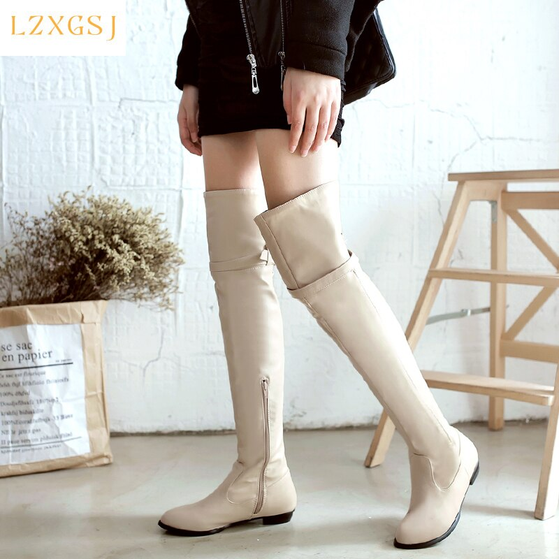 2021 Spring New Women High Boots Round Toe Low Heels Over The Knee Female Boots Fashion Casual Long Boots Women's Spring Shoes