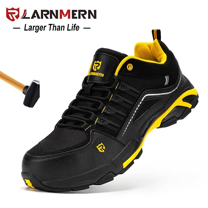 LARNMERN رجالي حذاء امن للعمل الصلب تو خفيفة الوزن تنفس مكافحة تحطيم مكافحة ثقب مكافحة ساكنة عدم الانزلاق أحذية عمل