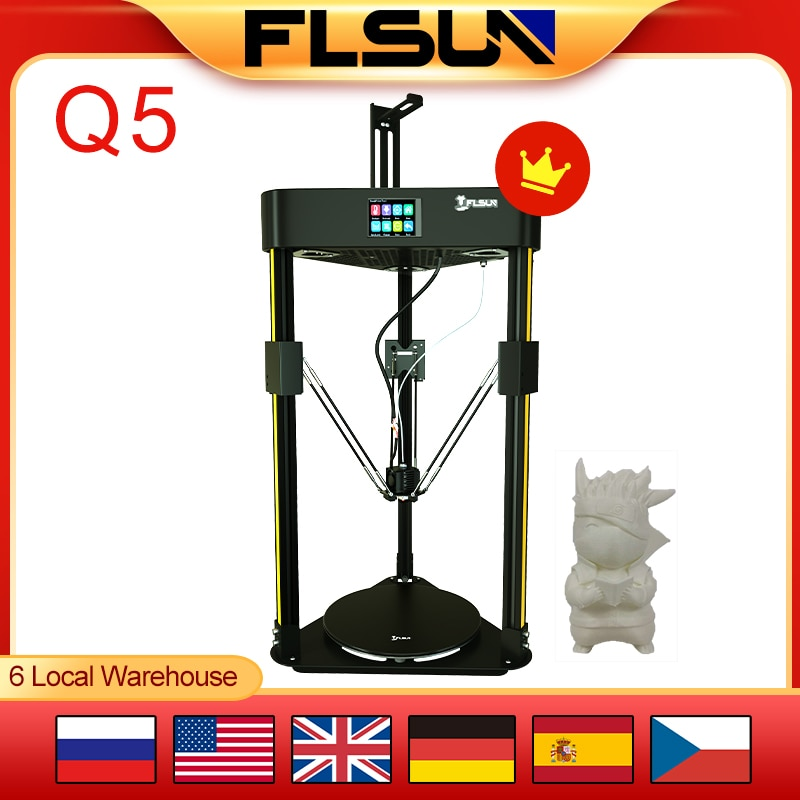 Flsun Q5 3D Printer DELATA Touch Screen USB TMC 2208 Silent Driver Auto Level Resume Printing Pre-Assembly 32bits Board Kossel