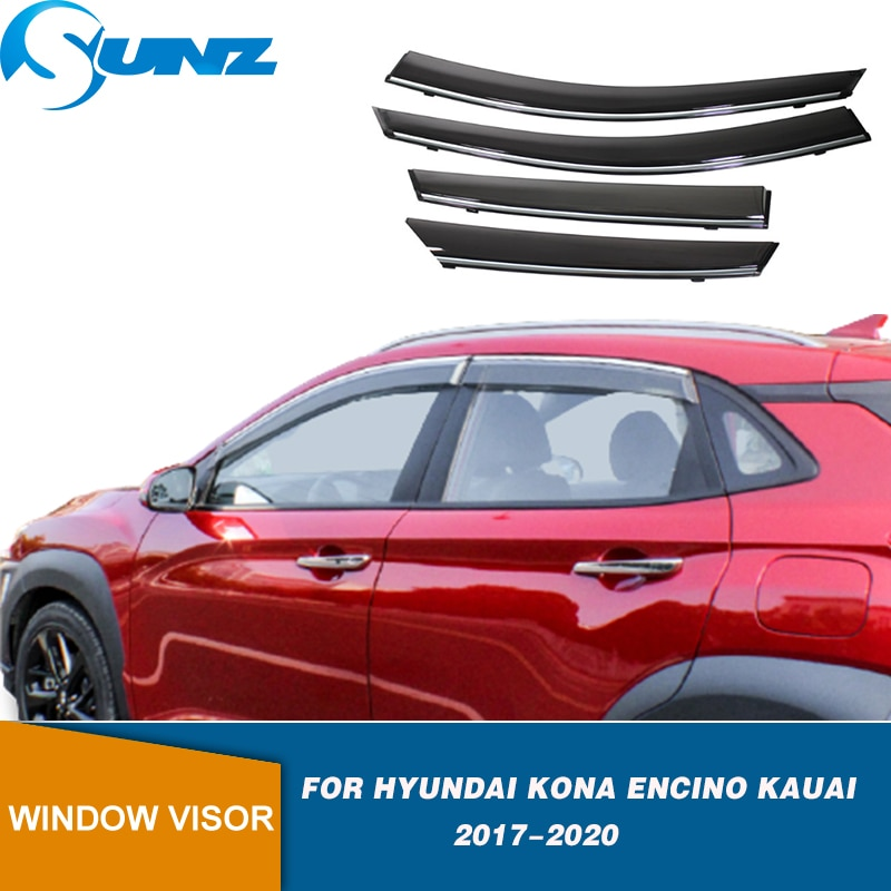 4pcs abs chrome rear window side triangle cover accessory trim c pillar trim strip for hyundai kona kauai encino 2017 2018 Side Window Deflectors For Hyundai Kona Encino Kauai 2017 2018 2019 2020 Smoke Window Visor Car Wind Shield Sun Rain Visors SUNZ