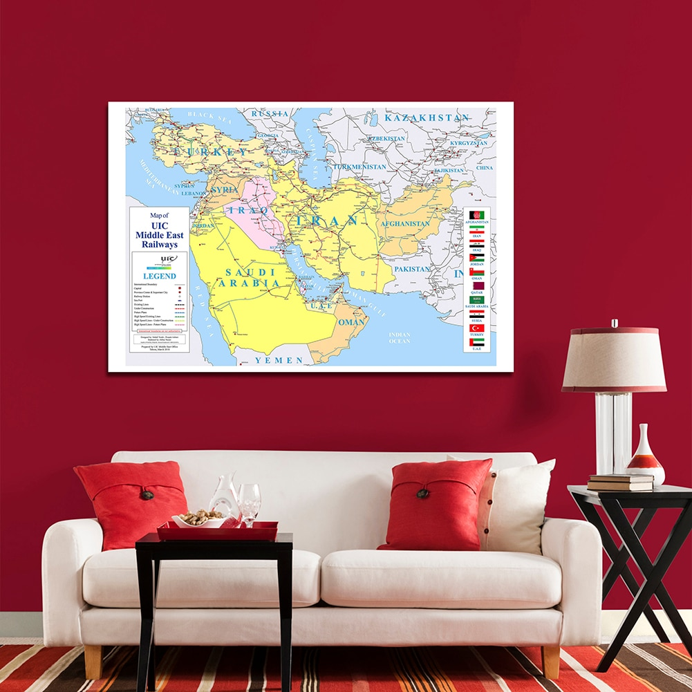 150*100 Cm The Middle East Map of Railways Non-woven Canvas Painting Poster Card LIving Room Home Decoration School Supplies