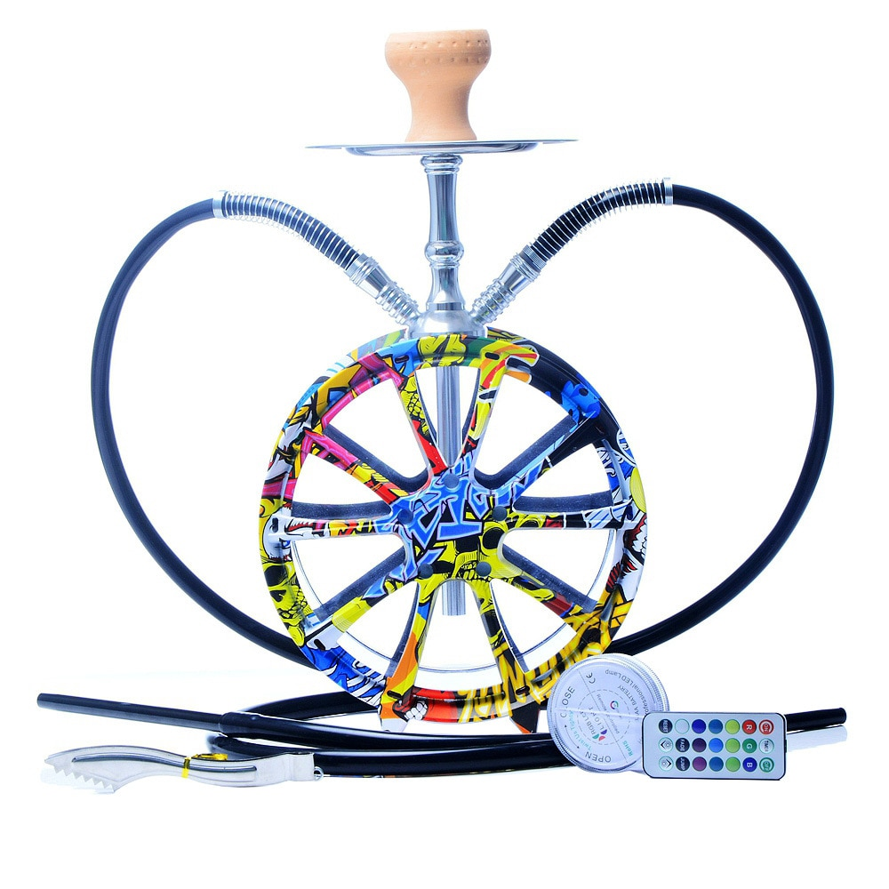 High Quality Wheel shaped Glass Hookah Set Shisha with LED lights Ceramic Bowl and Silicone double Hose Accessories