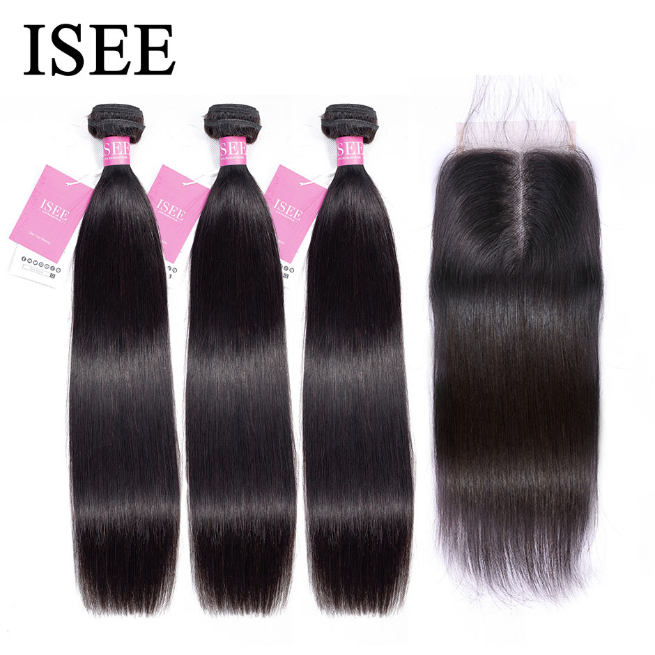 Straight Hair Bundles With Closure Malaysian Human Hair Bundles With Frontal Remy ISEE HAIR Bundles