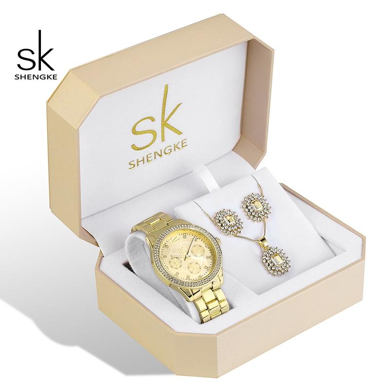 Women's Watch Set Luxury Jewelry Ladies Gold Wrist Watch Quartz Watches Stainless Steel Strap Female Clock Gift Set For Women