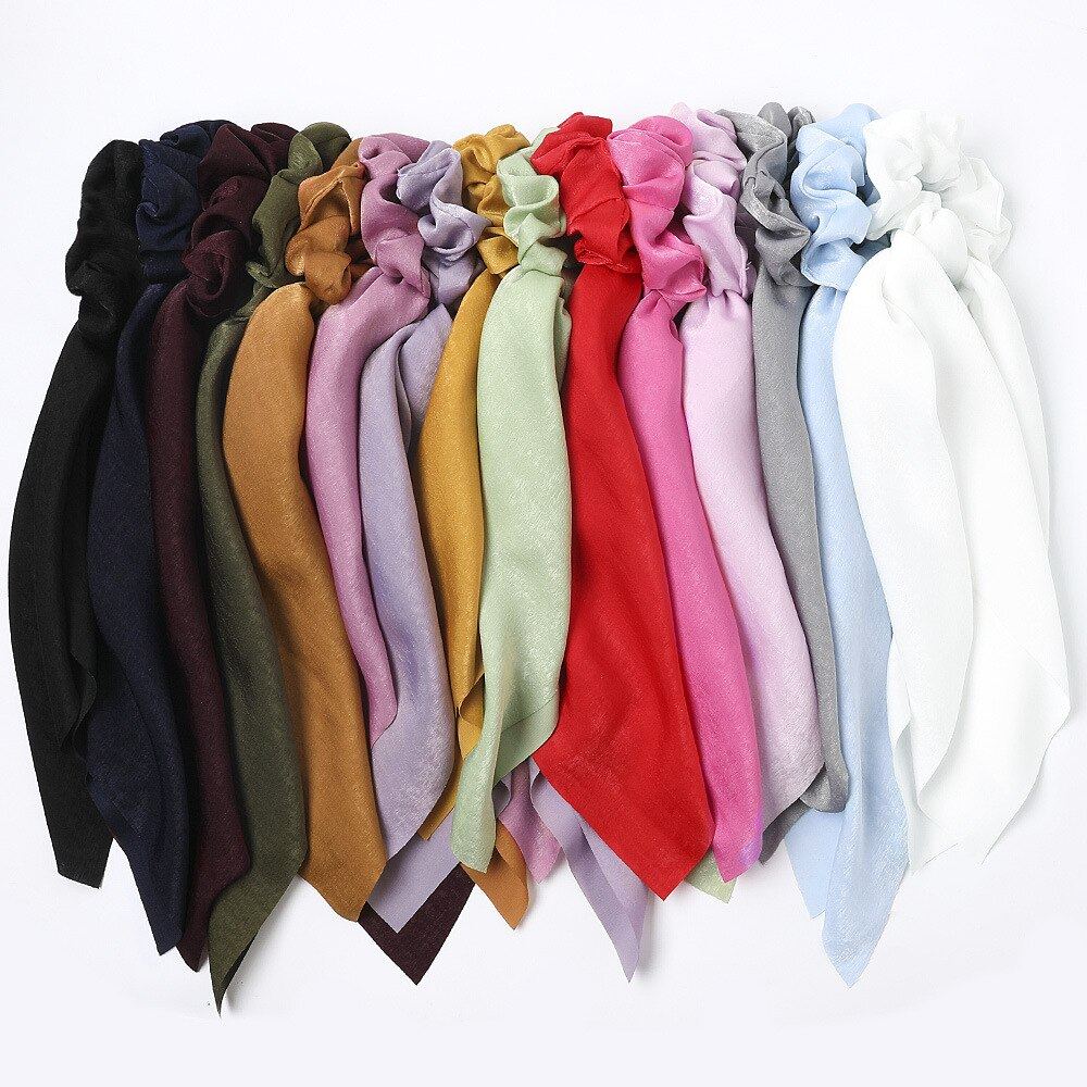 2020 Brand New Solid Color Hair Ribbons Pink Mint Hair Scarf For Women Scrunchy With Long Ribbons