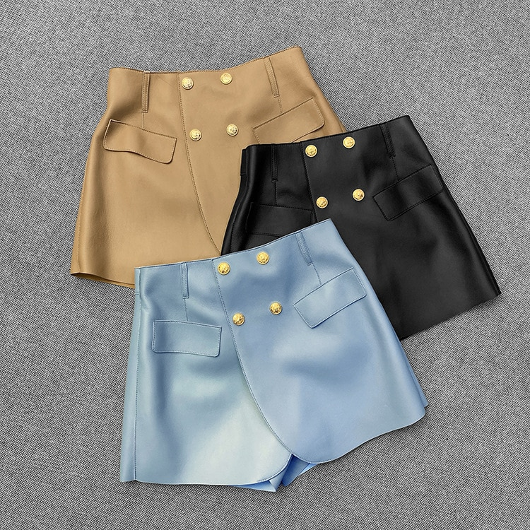 2021 Spring wome's high quality genuine leather shorts chic double-breasted leather pantskirt C555