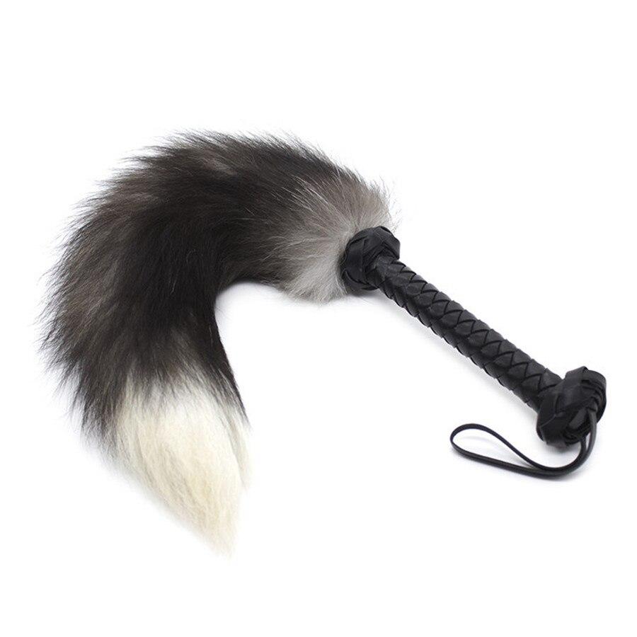 1 unidad coqueteo y cosquillas de cola de zorro Sexy de cuero pu látigo instrumentos sexuales en venta, Knout juego de adultos de esclavitud para parejas