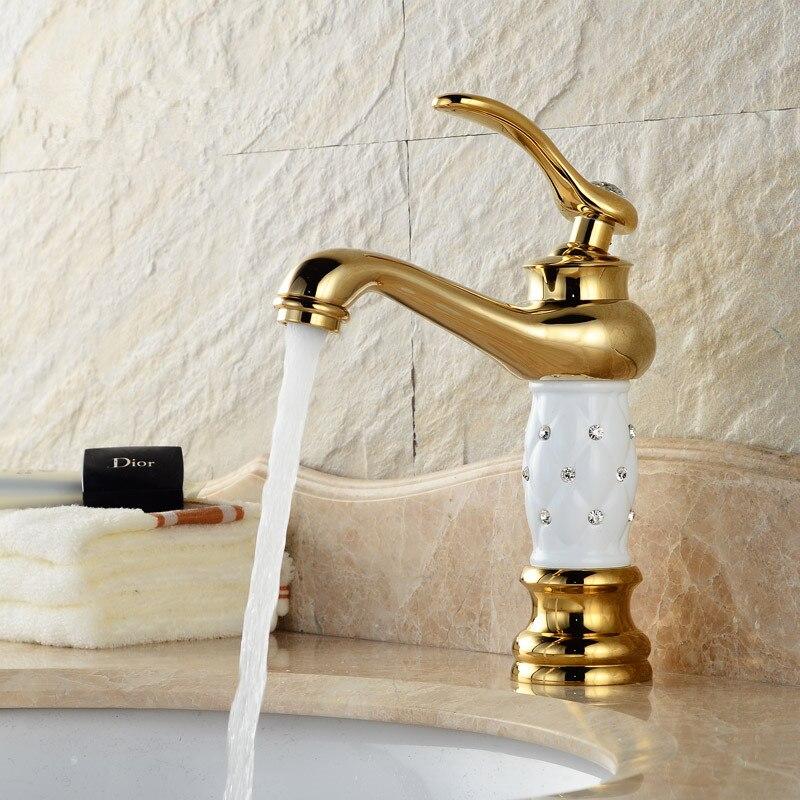 Lavabo de baño, grifo de latón dorado con cuerpo de cristal de diamante, nuevo mango individual de lujo, Grifo de Agua Fría y caliente